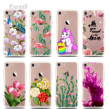 Kerzzil Slim Printed Flowers Cactus Flamingo Unicorn Cartoon Case For iPhone 6 6s 7 Plus Clear Tpu Back Cover For iPhone 7 6 6S(China)