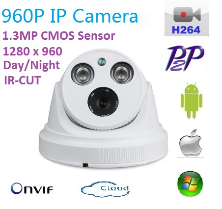 New type 1280*960P 1.3MP Mini Dome 960P IP Camera support ONVIF P2P H.264 Indoor IR CUT Night Vision easy Plug and Play,<br>