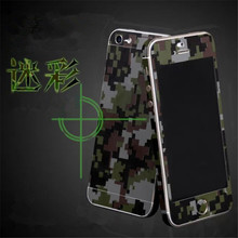 for iPhone 5/5S/SE/6/6S/6Plus Luxury Camouflage Green Full Body Skin Sticker Fashion Cool Front DIY Back Cover Film high qulity(China)