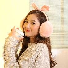 Lovely Rabbit ears winter music headset headphones ear warmer earmuff music Cartoon earmuffs Headphone for Girls Women