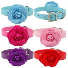 Puppy Cat Collar Necklace Leather Dog Pet Collars Pink Red Purple Blue Rose Neck For 8-18""