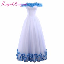 KapokBanyan Real Photo Blue Rose Boat Neck Quinceanera Dresses 2017 Vestido de festa Prom Dresses 15 Years Vestidos De 15 Anos(China)