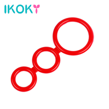 Buy IKOKY Silicone Cock Rings Delay Ejaculation Lasting Sex Toys Men Male Penis Rings Three Cock Cages Male Chastity Device
