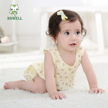 NNW 0-3 years old 2017 summer new cotton baby floral open back Jumpsuit romper suit Lovely girls confortable climbing clothes(China)