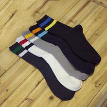 Fashion 2 Ring Around Calf Men In Tube Cotton Socks Simple And Comfortable Male Sock Two Bar Stripe Leisure Sox(China)