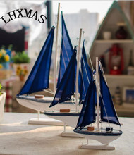 2pcs/lot Zakka Mediterranean Creative Home Furnishings Crafts Gifts Wooden Sailboat Blue Color E551
