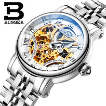 Switzerland luxury men's watche BINGER brand Hollow Out Mechanical Wristwatches sapphire full stainless steel B-5066M(China)