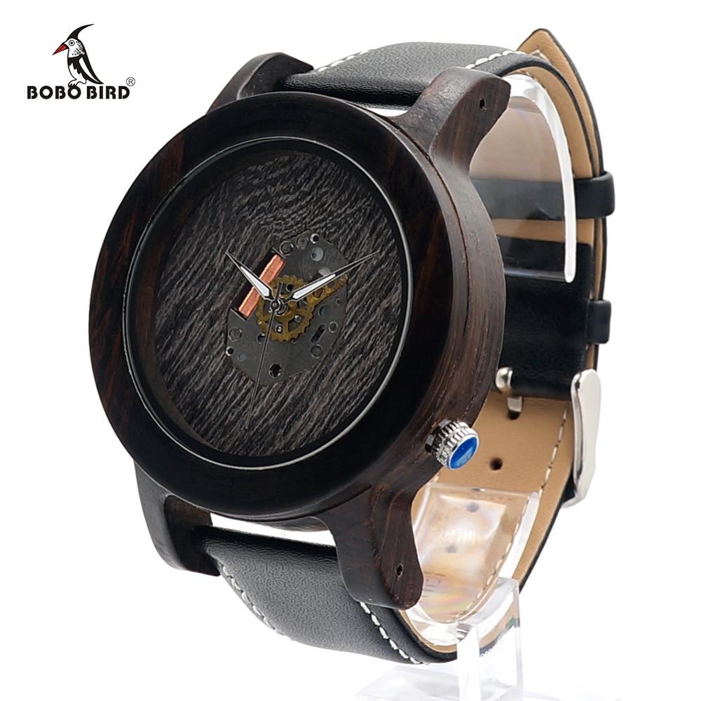 BOBO BIRD K08 Ebony Wooden Watch Men 47.5mm Size Quartz-watch Movement Exposed Design Dial Wood Wristwatch for Male in Gift Box <br><br>Aliexpress