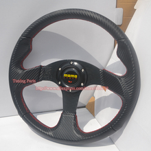 Free Shipping : 350mm MOMO Carbon Fiber Look Car Steering Wheel Flat Style
