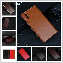 "Deluxe Wallet Case For Sony Xperia XZ F8332 5.2"" Genuine Cow Leather Case Flip Cover Phone Bags"