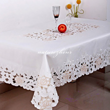 HBZ12 flower palace tablecloth table cover cloth Lace pastoral floral fabric rectangle squre gold lotus pierced white gauze