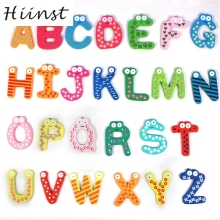 HIINST drop ship Colorful Cute 26 Letters Wooden Cartoon Fridge Magnet kid's Baby Educational Toy Aug15(China)