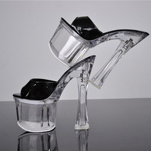 Catching Sexy Shoes Gladiator Women Pumps Perspex Platform High Heels PVC Clear Crystal Classic Buckle Strap Fashion 18 Cm Heel
