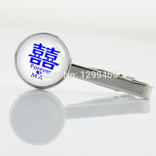 Blue and white porcelain Chinese zodiac tie tacks Character shuang xi Tie Clip Fashion Man's Classic simple tie pin T 795