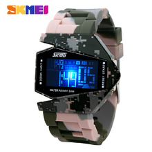 Skmei Camouflage Airplane Men Women Sports Watches Waterproof Digital Watch LED Colorful Light Unisex Student Wristwatches