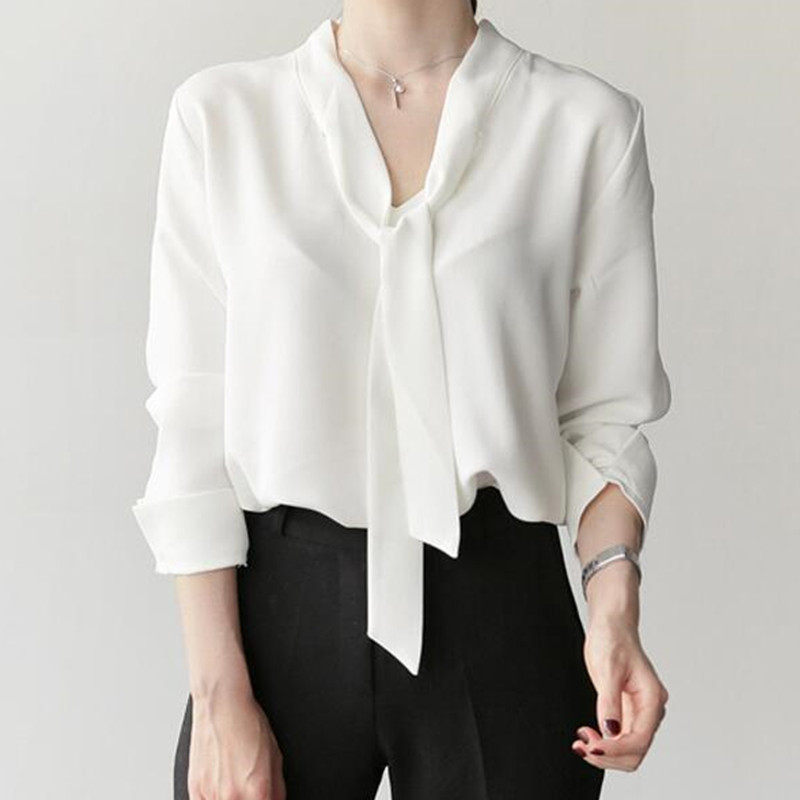 0486b699039ff Hanyiren White V Neck Chiffon Feminine Blouse Sleeve Long With Bow Tie 2018  Women New Office Lady Shirts Spring Summer Plus Size