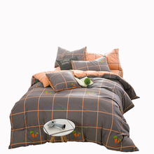 Cartoon radish pattern plaid bedding set cotton 100% for children orange quilt bedspread soft brief pillow covers multi-size(China)