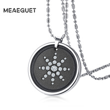 Meaeguet Lava Stone Quantum Pendant Necklace For Men Scalar Energy Crystal Sunflower Necklace With Authenticity Card and Box(China)