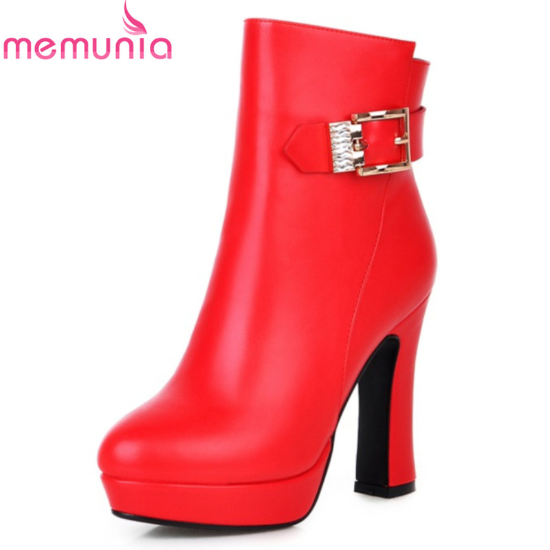 Fashion new arrival hot sale women boots thick high heels round toe platform ladies shoes autumn winter ankle boots black red<br><br>Aliexpress