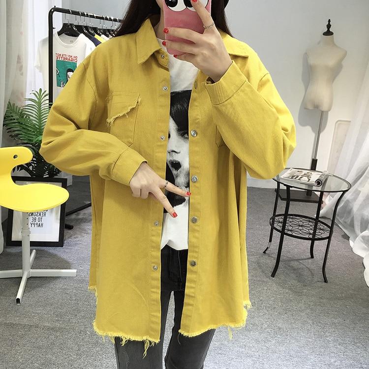 2018 Spring Autumn New Long Section Lapel Tassel Denim Jackets Women Loose Casual Long Sleeve Female\'S Thin Basic Jacket Coats (3)