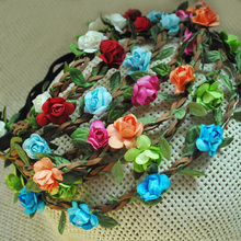 Wholesale 12pcs Bohemian Rose Flowers Headband Braided Leather Elastic Head Wrap for Women and Girls Hotsale Hair Accessories(China)