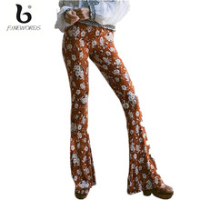 FINEWORDS 2017 High Waist Vintage Floal Printed Pattern Milk Silk Fabric Bell Bottom Pants Skinny Slim Push Up Trousers Women
