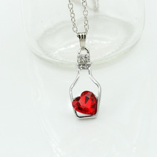red Heart Wish bottle necklace Crystal Pendant necklace silver chain  Wishing bottle statement necklaces & pendants For Women