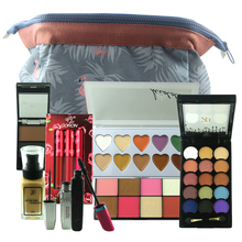 ZD 9PCS Makeup Set Blusher Bronzer Eye Shadow Cream Foundation Concealer Lip Gloss Mascara Eyeliner With Cosmeitc Bag Kit FHB09N(China)