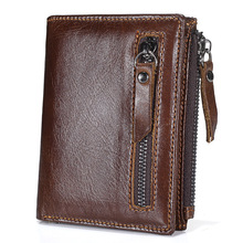 2017 New Promotion Genuine Leather Men's Wallet Vintage Style Wallets For Men Oil Wax Leather Cash Organizer Zipper Coin Purse(China)