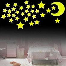 Worldwide Stars Moon Sun Glow In The Dark Fluorescent Wall Stickers Home Decal(China)