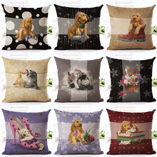 Cute dog and cat Cushion Cover Christmas gift Pillow Cover Invisible Zipper Cotton linen Square Pillow case Merry Christmas