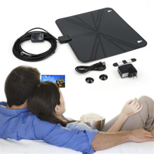 High QualityView TV Flat HD Digital Indoor Amplified Slim TV Antenna with Amplifier 50 Miles Range/Zoom Function