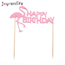 "JOY-ENLIFE 1pcs Pink Glitter Flamingo ""Happy Birthday"" Cake Cup Toppers Birthday Decor Baby Shower Child Kids Party Supplies"