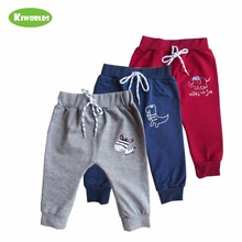 Autumn Hot Sale red blue grey Cotton Kids Pants,with cute animals , Comfortable and Soft ,Pants for Girls and Boys(China)