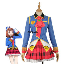 Love Live Sunshine Aqours Happy Party Train Nyamazing Takami Chika Uniform Dress Coat Shirt Outfit Anime Cosplay Costumes