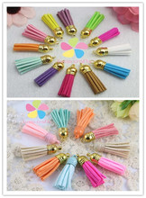 Lucia crafts12pcs/24pcs Suede Tassel Keychain Cellphone Straps Jewelry Charms,37mm Leather Tassels With Plated Gold Cap 20043701(China)