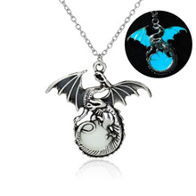 Vintage Dragon Glow in the Dark Pendant Silver Chain Jewelry Bright Dragon Pendants & Necklaces Mens Punk Dragon Necklace
