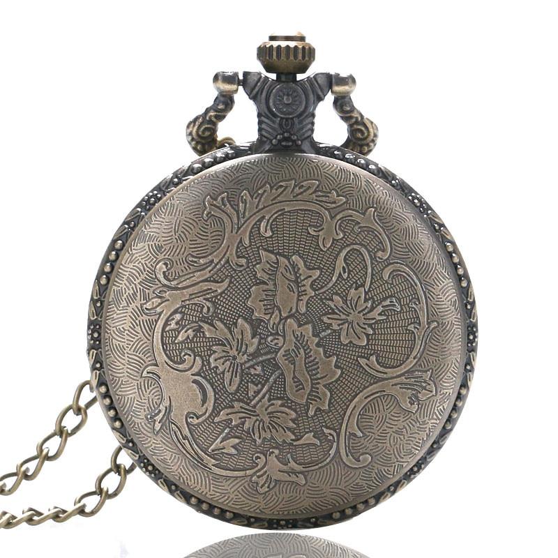 Vintage Bronze Cute Stars Circle Moon 3D Carving Quartz Pocket Watch Necklace Pendant Men Women Unisex Clock Birthday Gifts saat (6)