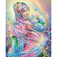 "NEW 5D DIY Square Diamond Embroidered Acupuncture Cross Stitch ""Flower Fairy"" Diamond Art Wall Photo Christmas Decorative Gift"