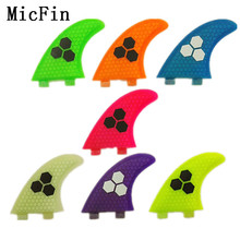 Micfin surfboard fins fiberglass honey comb THRUSTER SET 3 BLUE FCS G5 TRI NEW SURF FIN SKEG quilhas fcs pranchas de surf(China)