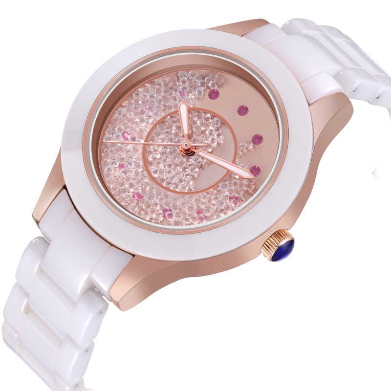 WEIQIN Fashion White Ceramic Band Rhinestone QuickSand Watches For Lady<br><br>Aliexpress