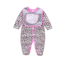 2017 Baby Rompers cotton Bear/dog/owl/cow printing infant Boy rompers Jumpsuit+bib baby wear Baby girl Rompers Newborn Clothes