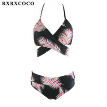 Buy RXRXCOCO High Waist Bikini Set Halter Bandage Swimwear Women Sexy Printed Bikini Padded Swimsuit Female Summer Swimming Suit