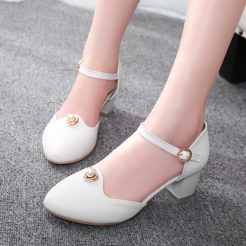 Top quality summer sandals women pointed toe high heels wedding white shoes stiletto thick heel medium heel shoes women pumps<br><br>Aliexpress