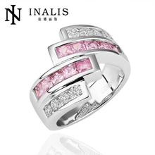 Wow!! Big Sale For New Store Hot Selling Golden/ Plated Micro Inlay Cubic Zirconia Wedding Rings R198(China)