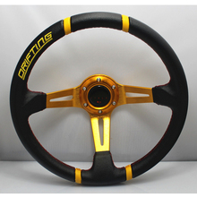 Hot 350mm 14inch PVC Leather Deep Dished MOMO Steering Wheel Sport Racing Yellow Alloy Rally Drifting Racing Steering Wheel