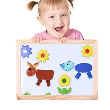 2017 NEW Baby Wooden Animal Cartoon Magnetic Jigsaw Puzzle Board 3D Puzzle Children Kids Education Toy Easel juguetes educativos(China)