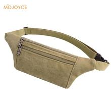 Unisex Men Canvas Waist Bag Money Phone Belt Bag Women's Male Casual Functional Fanny Bag Simple Deisgn