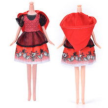 Wholesale 1 Set Red Cloak Hat Black Lace Printing Handmake Party Gown Dress Clothing For Barbie doll Princess Clothes Gift