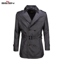 Seven7 Brand Top Quality Men Trench Coat  British Double Breasted Long Trench Coat Adjustable Waist Jacket Trench Coat  703K2569